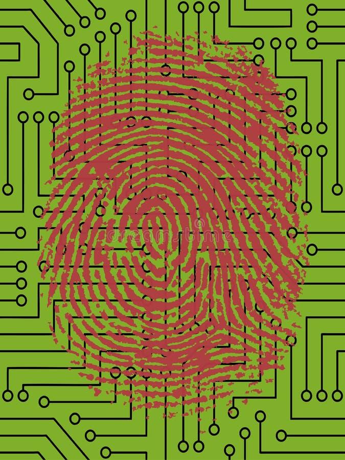Impressão digital vermelha na placa de circuito ilustração do vetor