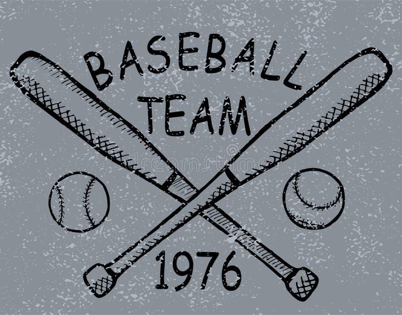 Impressão do t-shirt do projeto do basebol do Grunge Vetor ilustração royalty free