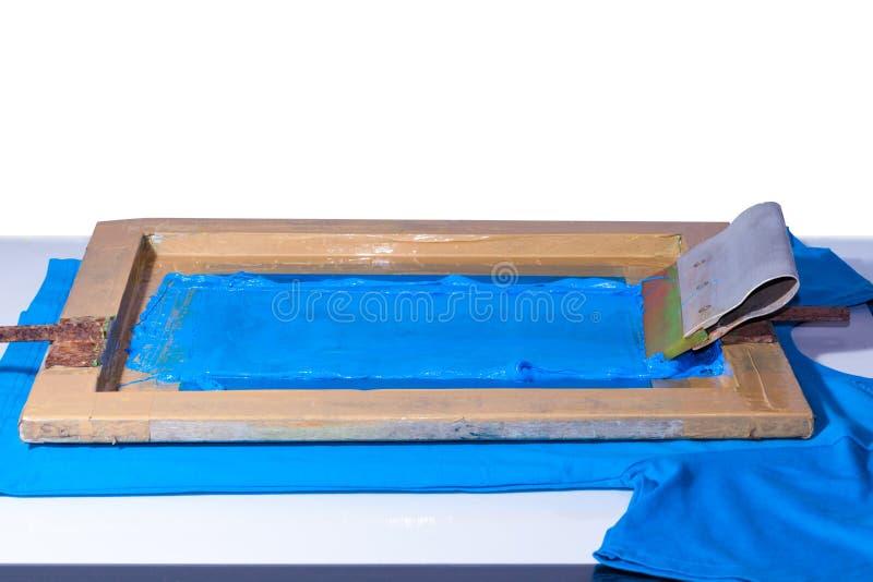 impressão feito à mão da tela com cor azul fotografia de stock