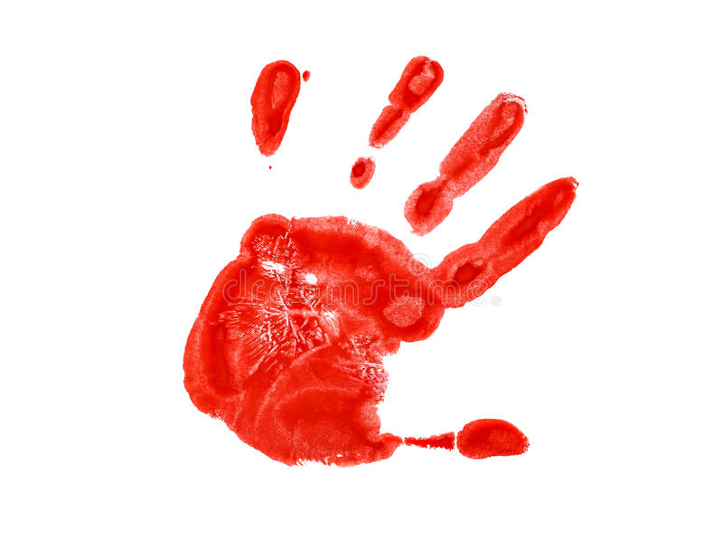 A impressão vermelha da mão esquerda foto de stock royalty free