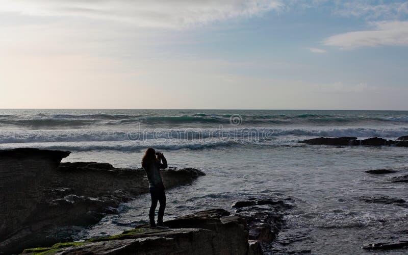 Impressões da costa de Trebarwith - Cornualha fotografia de stock
