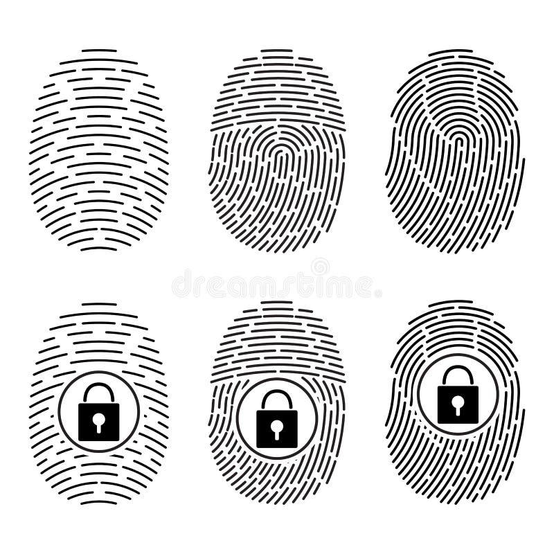 Impressões digitais ajustadas Sistema de segurança do vetor fechamento digital ilustração stock