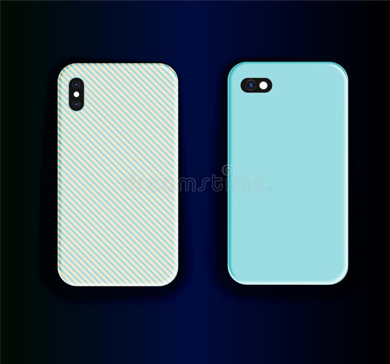 Impressões estilizadas para o gabinete do smartphone: padrão listrado azul e design de impressão azul estilizado Vetor tire a tam ilustração stock