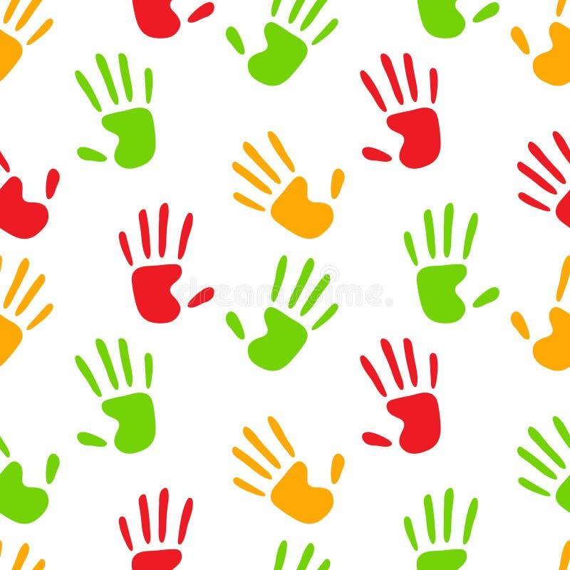 Impressões humanas coloridas das mãos no teste padrão sem emenda branco, vetor ilustração royalty free