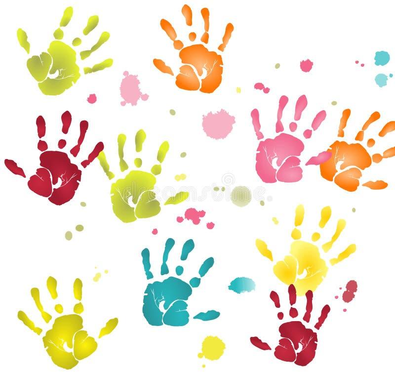 Impressões lisas coloridas das mãos com manchas da pintura ilustração do vetor