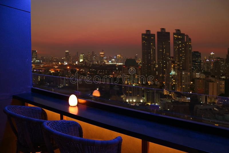Impressed with Bangkok Downtown Night View from Rooftop Terrace stock photos