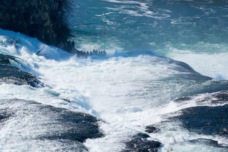 The rhine falls in Schaffhausen-Switzerland in early spring stock photo