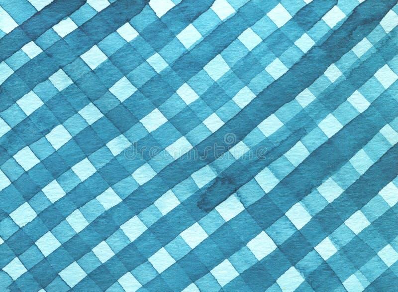 Impression couleur bleue molle de main de dessin d'aquarelle d'image de modèle de tissu de place abstraite de texture cellule illustration stock