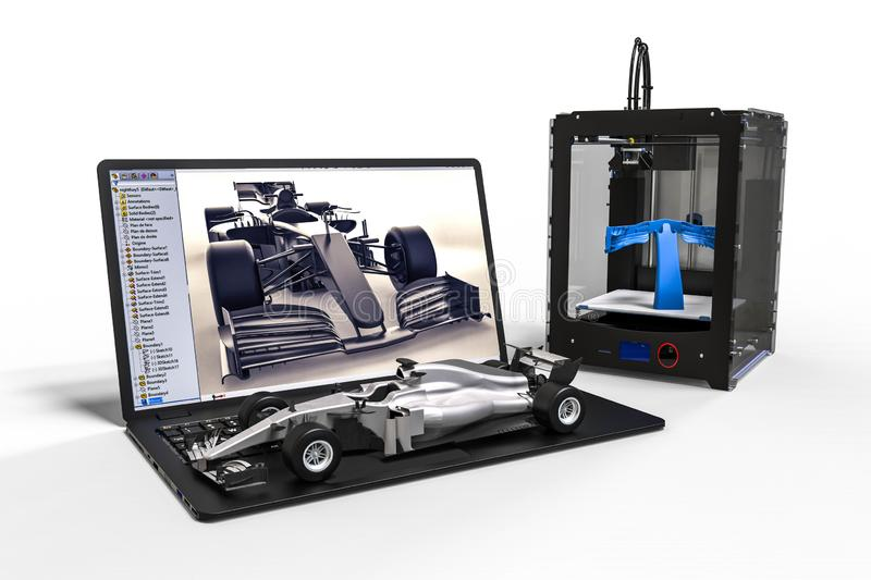 impression 3D d'une voiture de Formule 1 illustration stock
