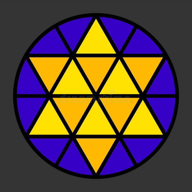 Impression de leadlight de Hexagram illustration stock