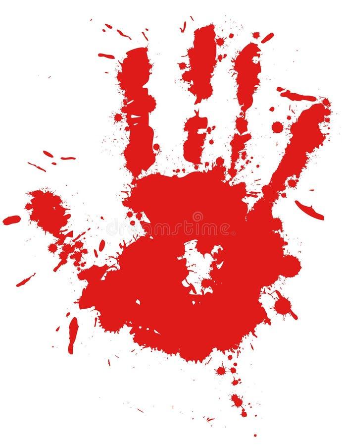 Impression de main d'éclaboussure d'encre de baisse rouge illustration de vecteur