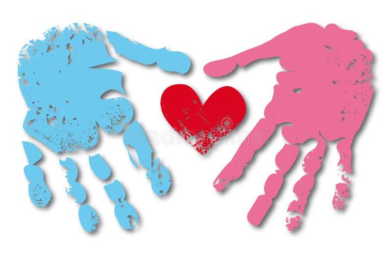 Impression de main des couples de l'homme et de femme illustration stock