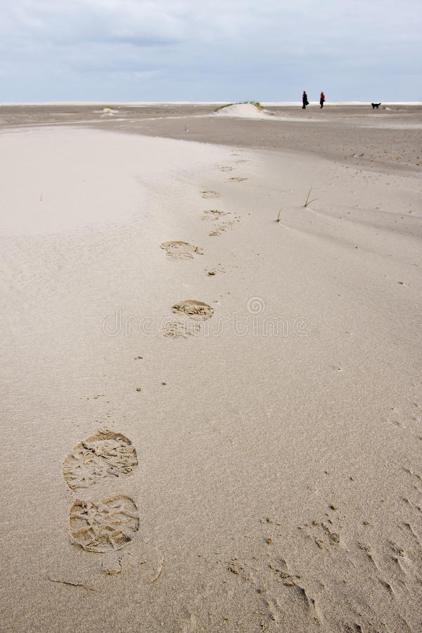 Impression de pied de femme marchant dans les dunes de sable images stock