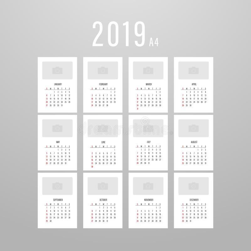 Impression du calendrier pour 2019 illustration stock