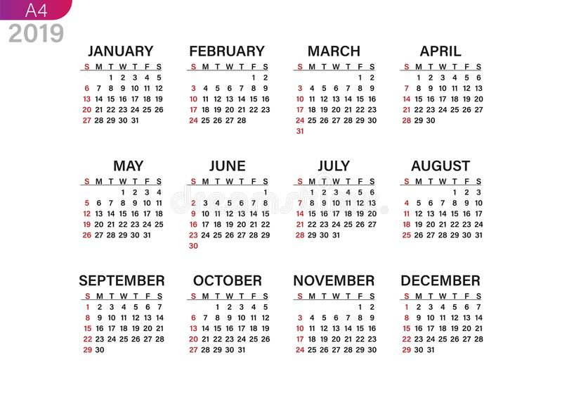 Impression du calendrier pour 2019 illustration de vecteur