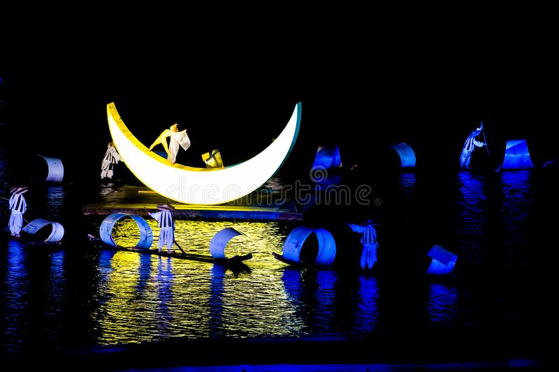 China, Open Air Event with Light Show, Music, Dance, Lui Sanjie, Yangshuo royalty free stock photos