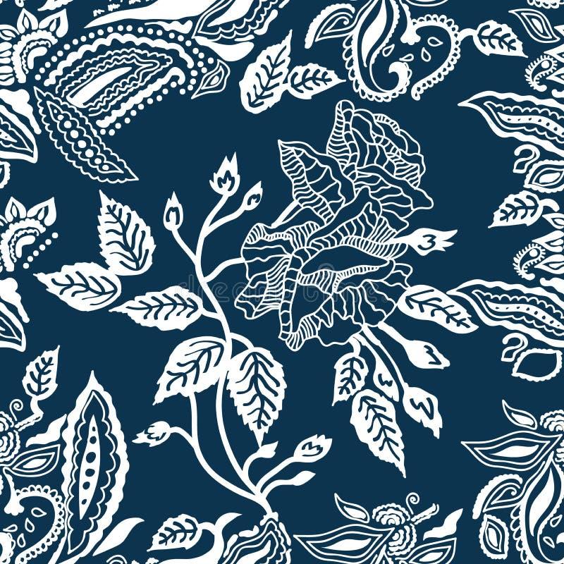 Impression florale bleue et blanche illustration libre de droits