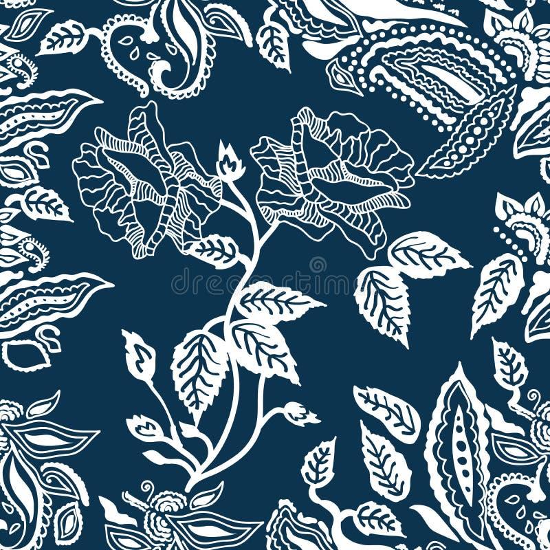 Impression florale bleue et blanche illustration stock