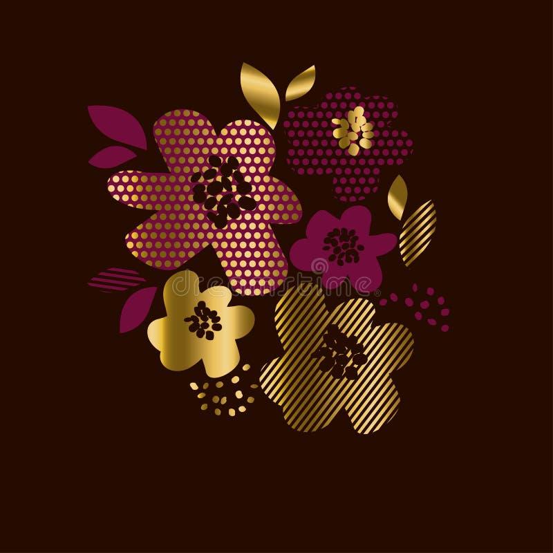 Impression florale de luxe d'or avec des modèles de la géométrie illustration stock