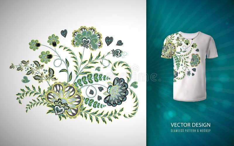 Impression florale pour le T-shirt Modèle de vecteur sur la moquerie de T-shirt  Composition florale dans le style chinois illustration stock