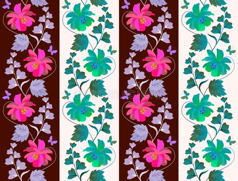 Impression florale sans couture mignonne pour la tapisserie ou le papier peint avec les guirlandes verticales des fleurs de cosmo illustration libre de droits