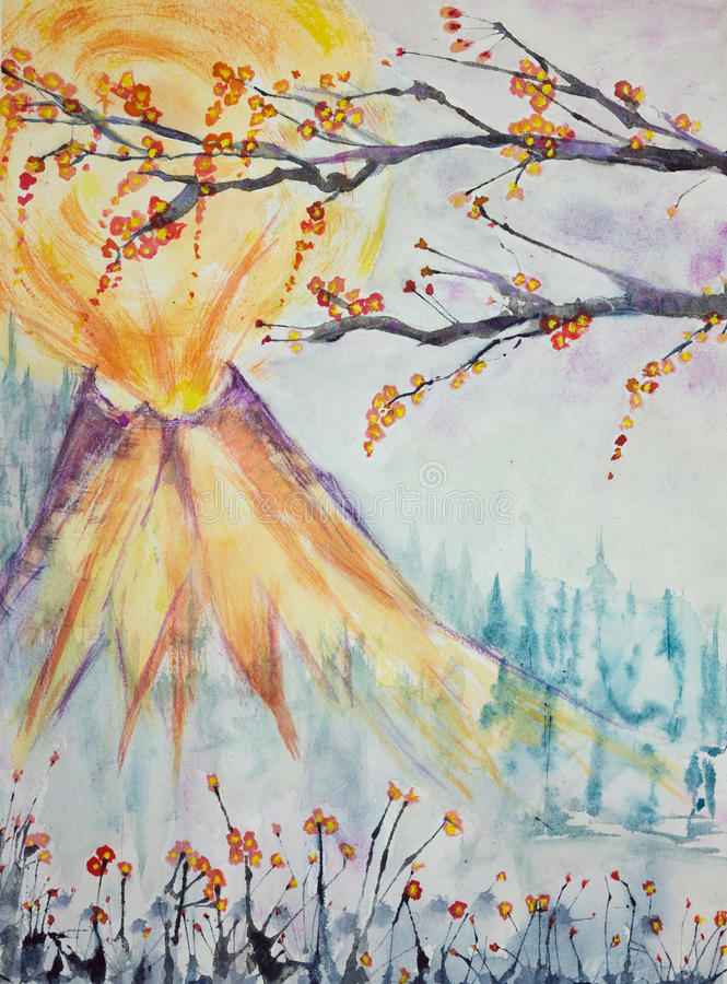 Impression of a Japanese volcano with cherry blossoms. The dabbing technique near the edges gives a soft focus effect due to the altered surface roughness of royalty free illustration