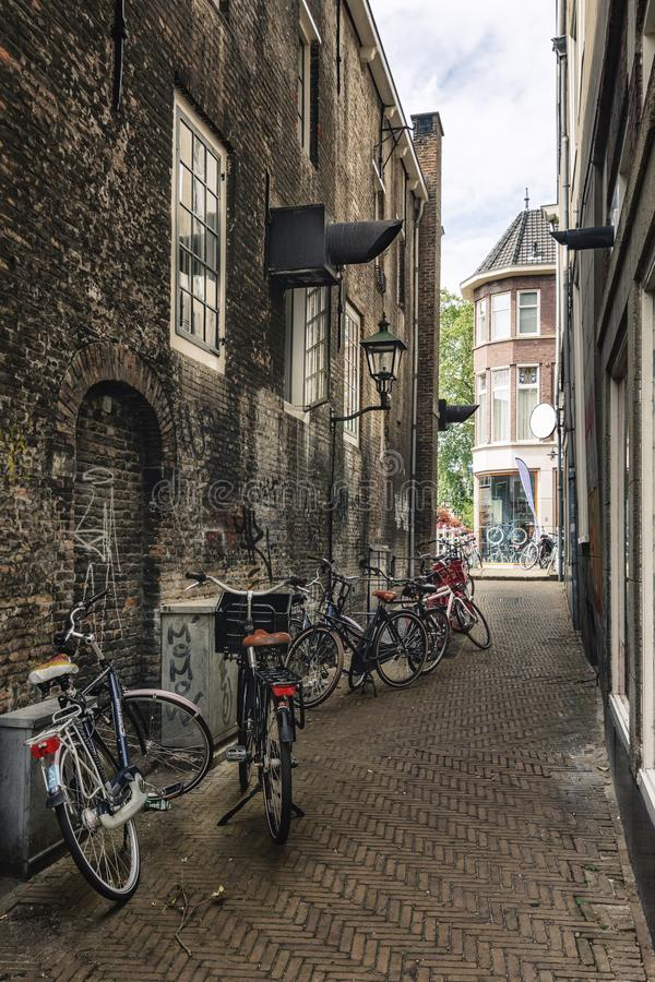Impression of a narrow street in the old center of Delft stock image