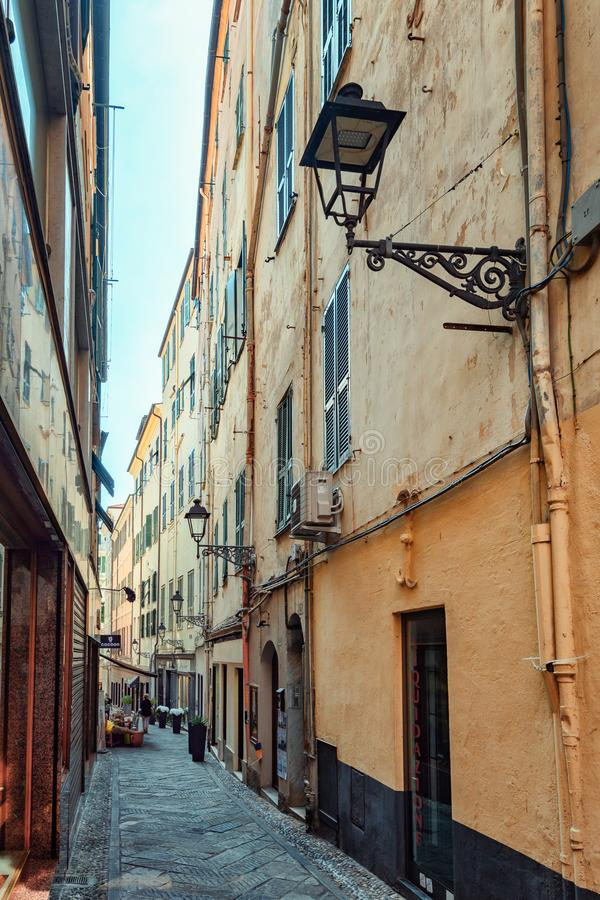 Impression of the narrow street Via Camillo Benso di Cavour in the center of the Italian town San Remo royalty free stock photos