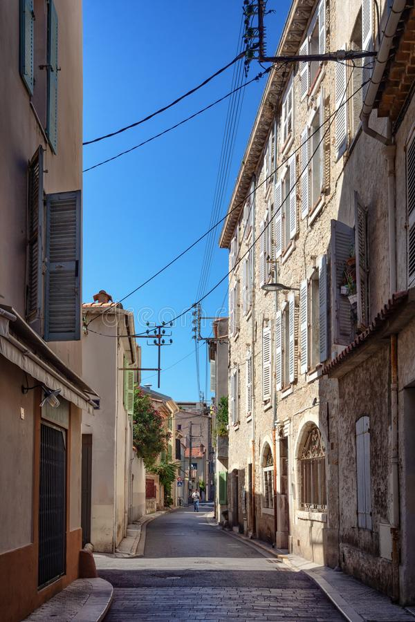 Impression of the narrow streets in the old center of Antibes. In France royalty free stock photography