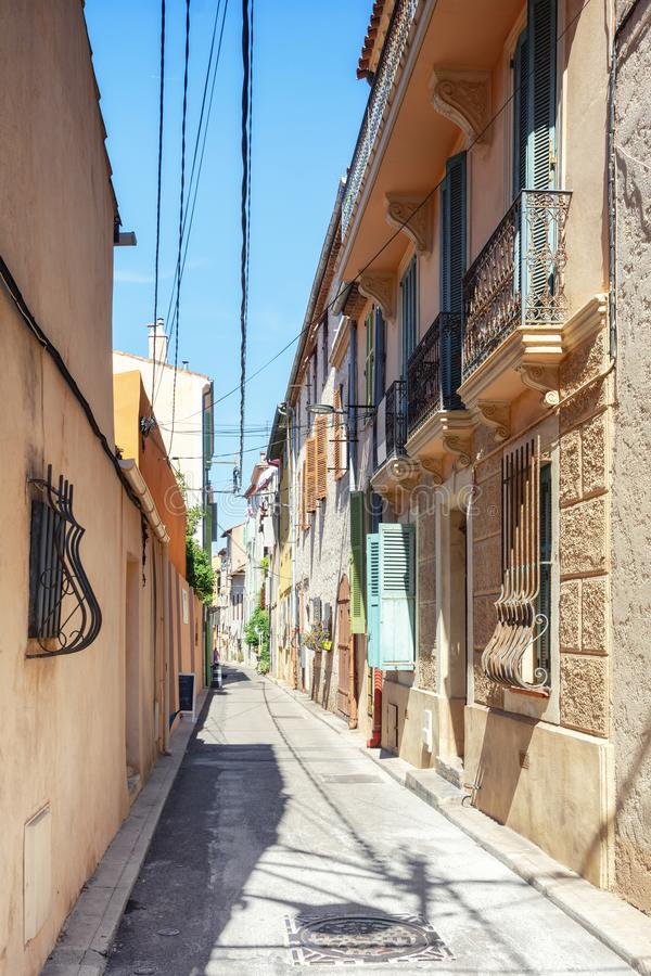 Impression of the narrow streets in the old center of Antibes. In France royalty free stock images