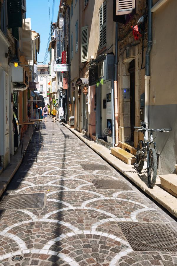 Impression of the narrow streets in the old center of Antibes. Antibes, France, September 11, 2018: Impression of the narrow streets in the old center of Antibes stock image