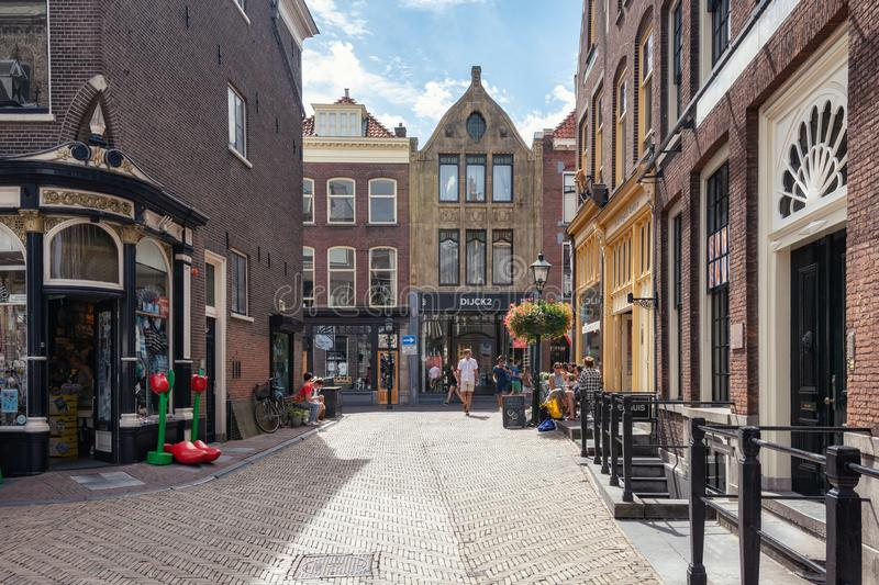 Impression of a street in the old center of Delft stock photos