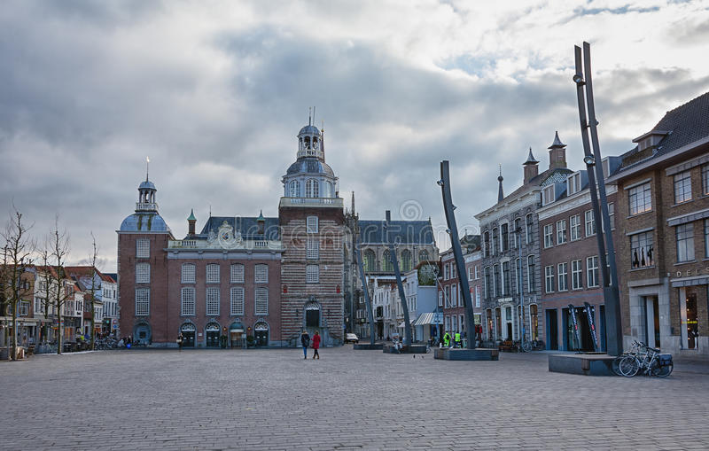 Impression of the town square with town hall royalty free stock image