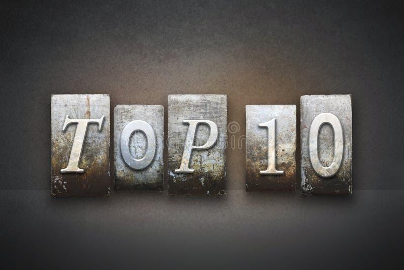 Impression typographique du principal 10 images libres de droits