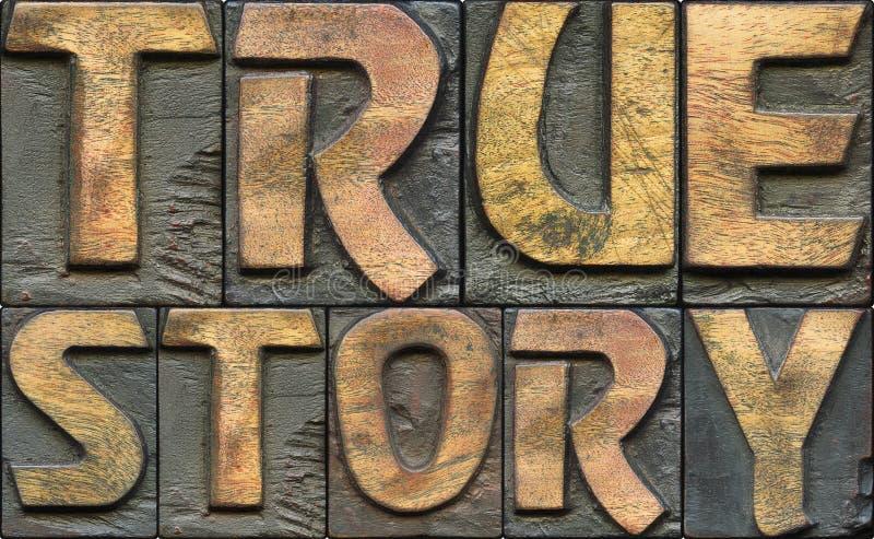 Impression typographique en bois de véritable histoire photos stock