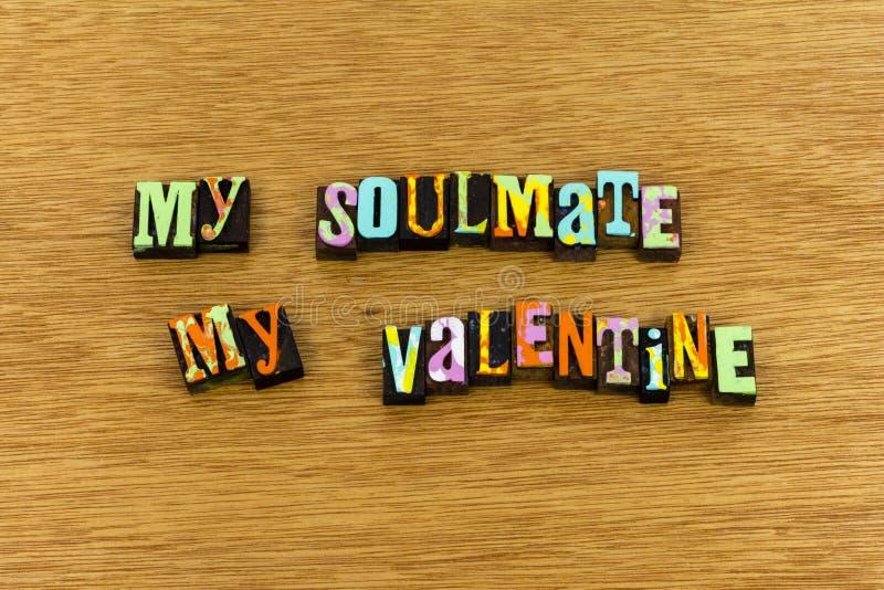 Impression typographique romantique de salutation de cupidon de valentine de Soulmate photos libres de droits