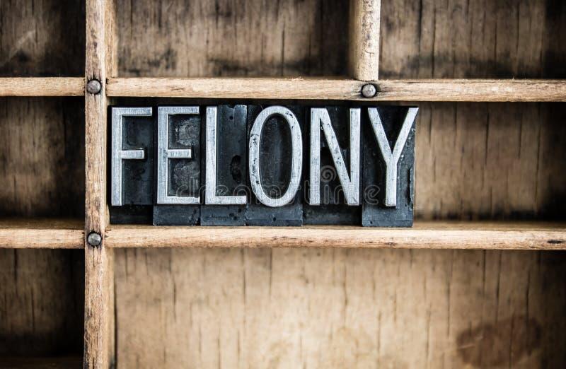 Impression typographique Word en métal de concept de crime dans le tiroir photos libres de droits