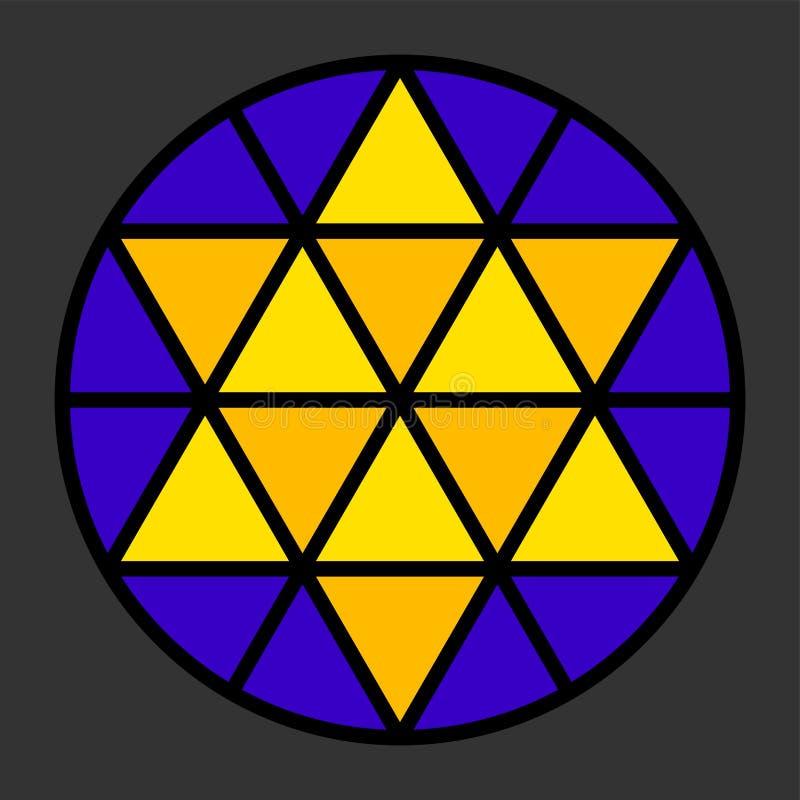 Impressione del leadlight di Hexagram illustrazione di stock