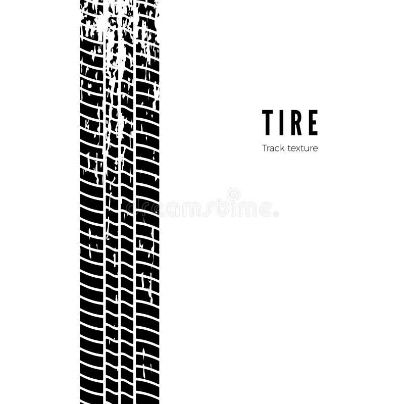 Impressione della pista della gomma Struttura nera della gomma Illustrazione di vettore isolata su priorità bassa bianca illustrazione vettoriale