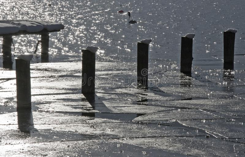 Impressioni di inverno dal Tegernsee nel monocromio fotografie stock
