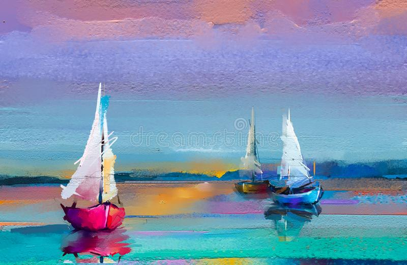 Impressionism image of seascape paintings with sunlight background. Modern art oil paintings with boat, sail on sea. stock photo