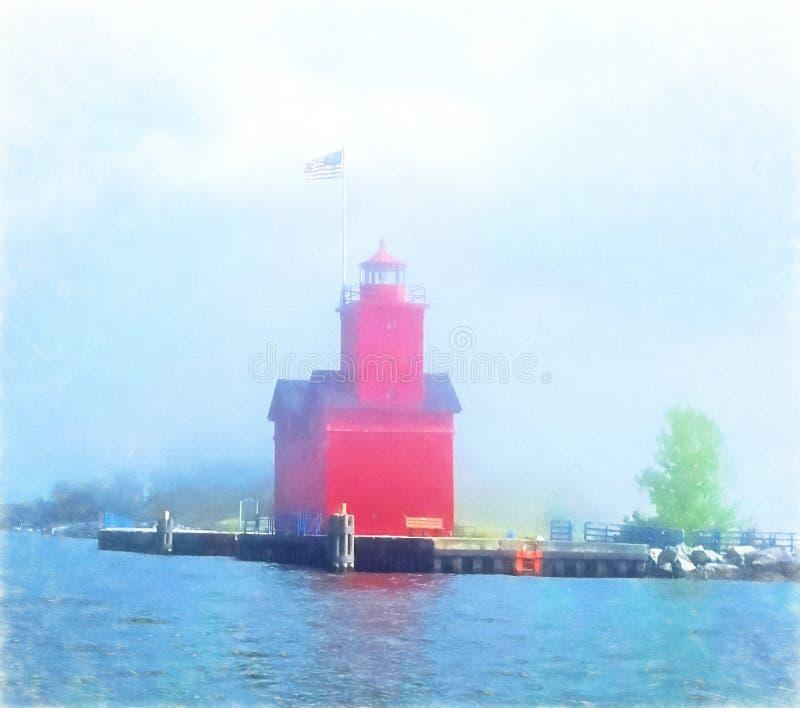Impressionismo rosso del faro del Michigan fotografie stock