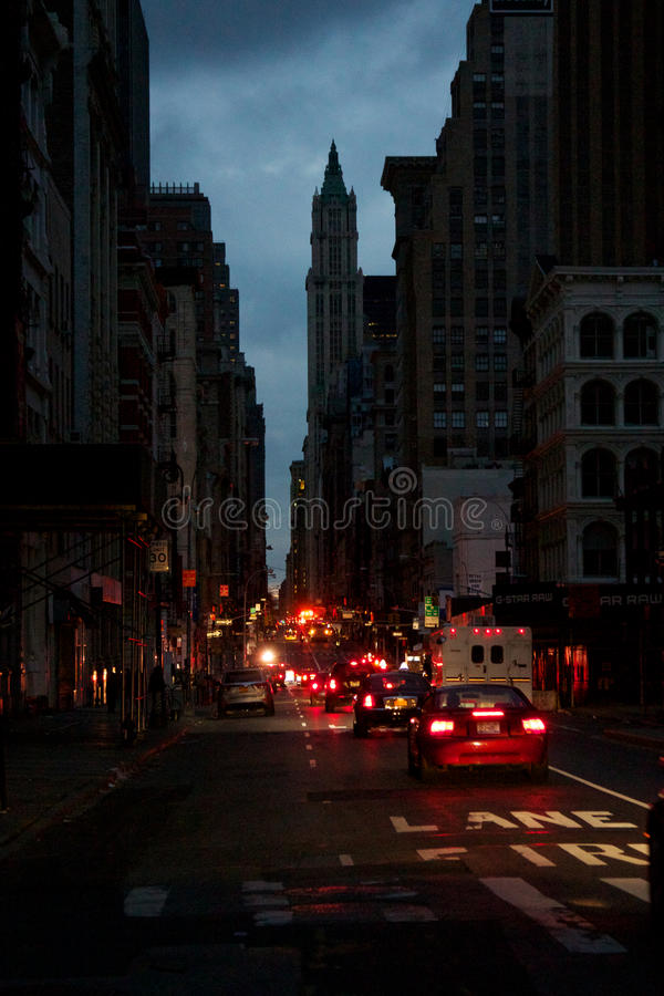 Impressions from Blacked-Out Lower Manhattan stock image