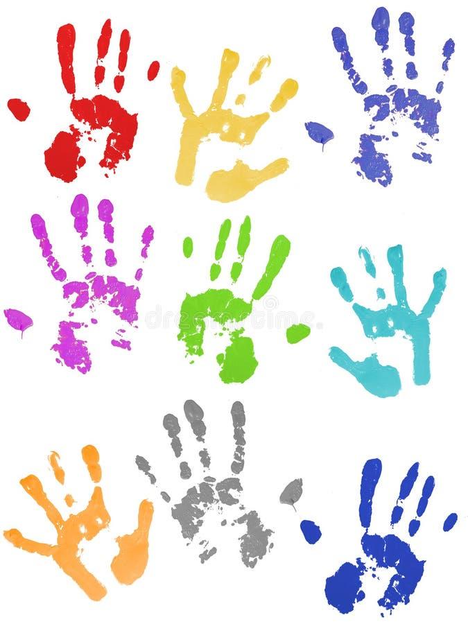 impressions colorées de main photo libre de droits