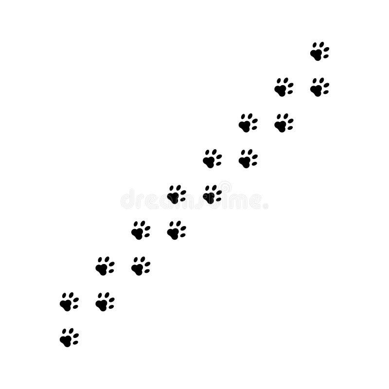 Impressions de chiens ou de chats sur le sol Pont animal isolé sur fond blanc Impression de papier illustration stock