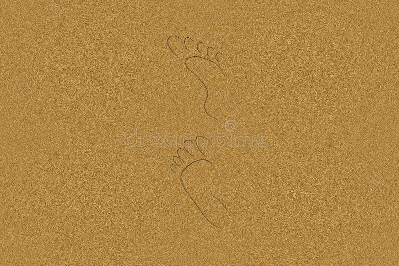 Impressions de pied dans le sable illustration stock