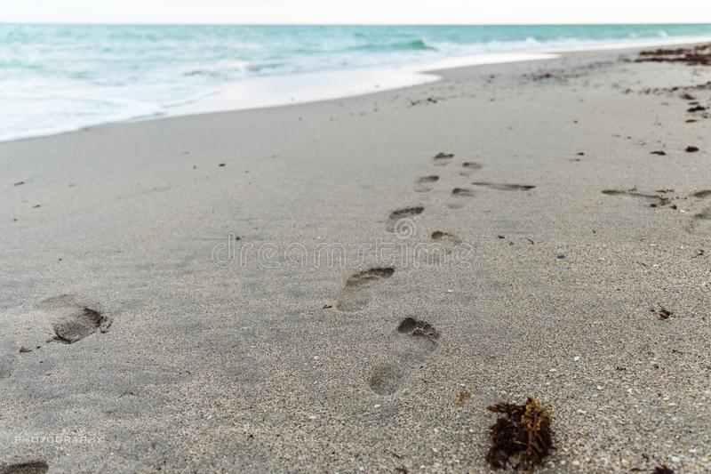 Impressions de pied dans le sable images stock