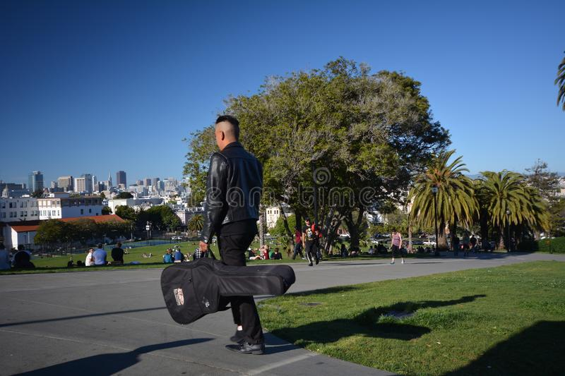 Impressions from the Dolores Park in San Francisco, California USA. Impressions from the Dolores Park in San Francisco from May 1, 2017, California USA stock images