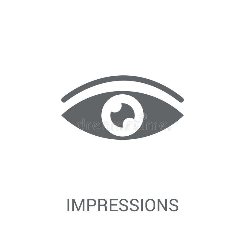 Impressions icon. Trendy Impressions logo concept on white background from Technology collection. Suitable for use on web apps, mobile apps and print media royalty free illustration