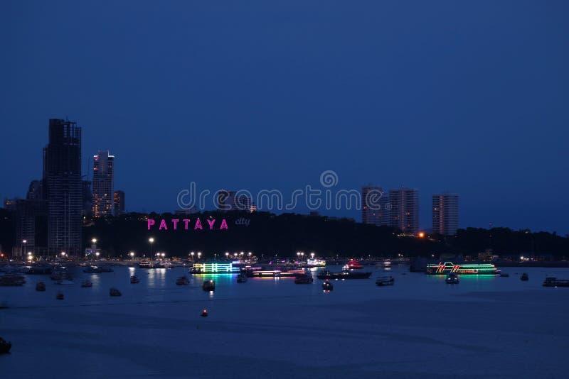 Impressive Aerial View of Light-up Pattaya Beach Coastline at Night, Pattaya City, Thailand stock image
